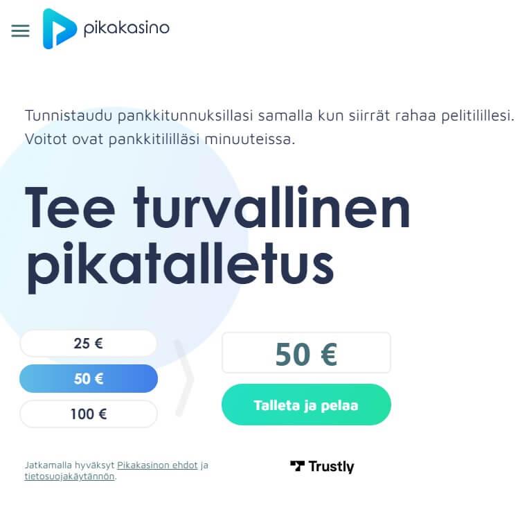Pikakasino.com etusivu